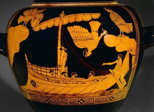 Um dos vasos gregos mais famosos que existem: O vaso Sirene, representa um trecho da Odisséia em que Ulisses, preso ao mastro de seu barco, é atacado por sirenes. Museu Britânico. N° 1843,1103.31
