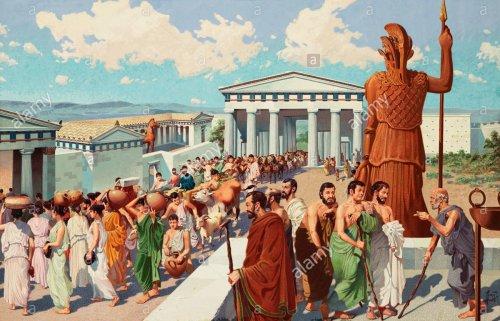 Pessoas na procissão do Festival das Panateneias. Ilustração moderna, autor desconhecido.