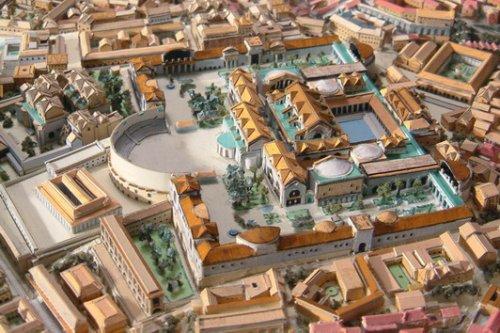 Reconstrução moderna das Termas de Trajano. Autor desconhecido.