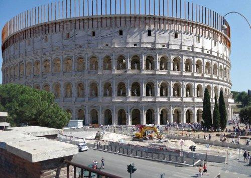 Reconstrução da aparência original do Coliseu no século 1 d.C. Autor desconhecido.