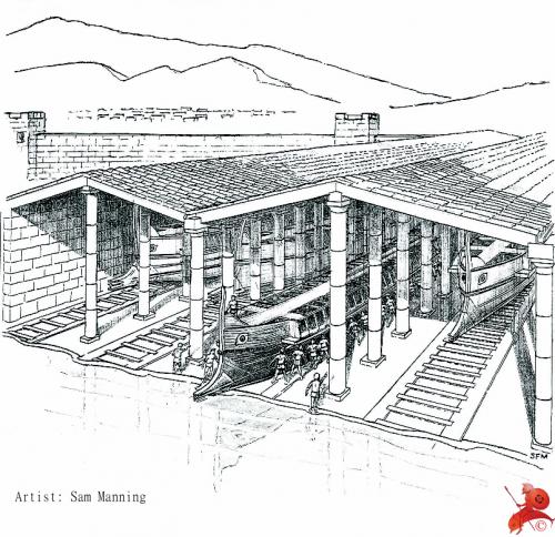 Uma reconstrução da aparência original dos galpões do Pireu, em Atenas. Ilustração de Sam Manning.