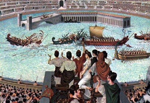 Barcos no Coliseu. Ilustração moderna, autor desconhecido.