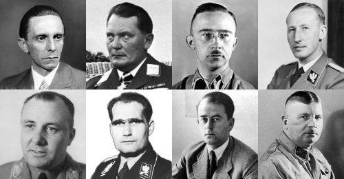 O círculo interno de Hitler, da esquerda para a direita. Em cima: Goebbels, Goring, Himmler, Heydrich. Embaixo: Martin Bormann, Hesse, Speer, Rohm.