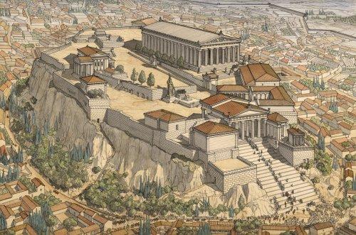 Atenas na Era de Ouro, século 5 a.C. Ilustração de Jean-Claude Golvin.