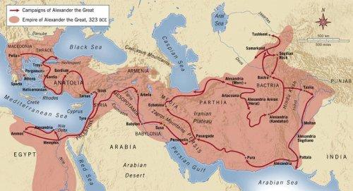 O extenso império de Alexandre o grande.