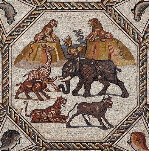Animais representados no Mosaico Lod de cerca de 300 d.C. na cidade de Lod em Israel.