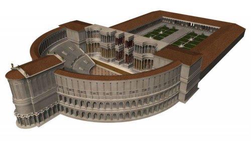 Reconstrução digital do que teria sido o teatro de Pompeu em Roma. Autor desconhecido.