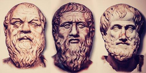 Da esquerda para a direita. Bustos de Sócrates, Platão e Aristóteles.