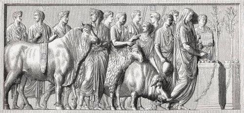 Relevo romano do século 1 d.C. mostra animais sendo levados para o sacríficio ritual. Museu do Louvre. Double Suovetaurilia sacrifice - Ma 1096 (MR 852)