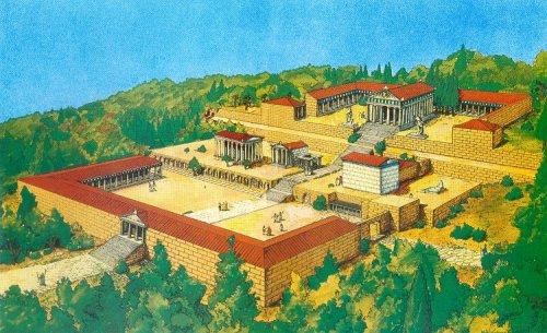 Reconstrução do Templo de Asclépio na ilha grega de Kos. Ilustração moderna, autor desconhecido.