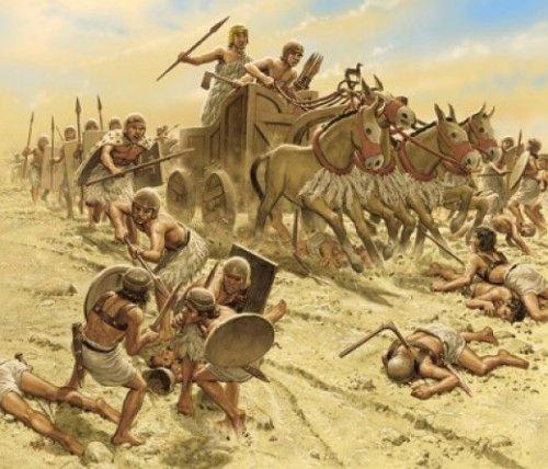 Uma cena de guerra conforme baseada em ilustração presente no Estandarte de Ur, que procede em alguns séculos o período acadiano.