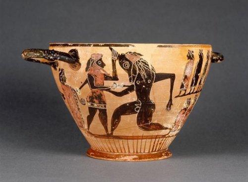 Teseu mata o Minotauro. Vaso grego do Período Arcaico, cerca de 550 a.C. Museu do Louvre.]