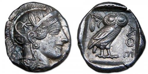 Moeda de prata ateniense do século 5 a.C.