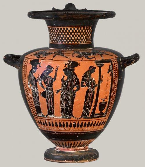 Hídria de figura negras do final do período arcaico. Cerca de 510 a.C. 37 cm de altura. MET. N° 06.1021.77