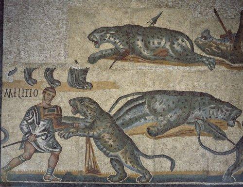 O Mosaico dos Gladiadores mostra animais sendo mortos em combate nas arenas romanas. Século 4 d.C. Galeria Borghese.