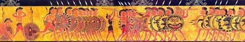 Pintura do Vaso Chigi do século 6 a.C., mostra o encontro de duas falanges de guerreiros hoplitas gregos.