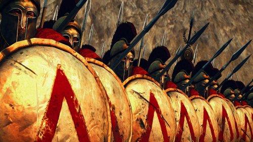 Soldados de uma falange espartana. Ilustração moderna, autor desconhecido.