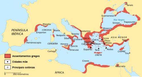 As colônias gregas antes das conquistas romanas.