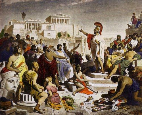 Discurso funerário de Péricles, pintura de Philipp Foltz (1852). Via Wikimedia Commons.