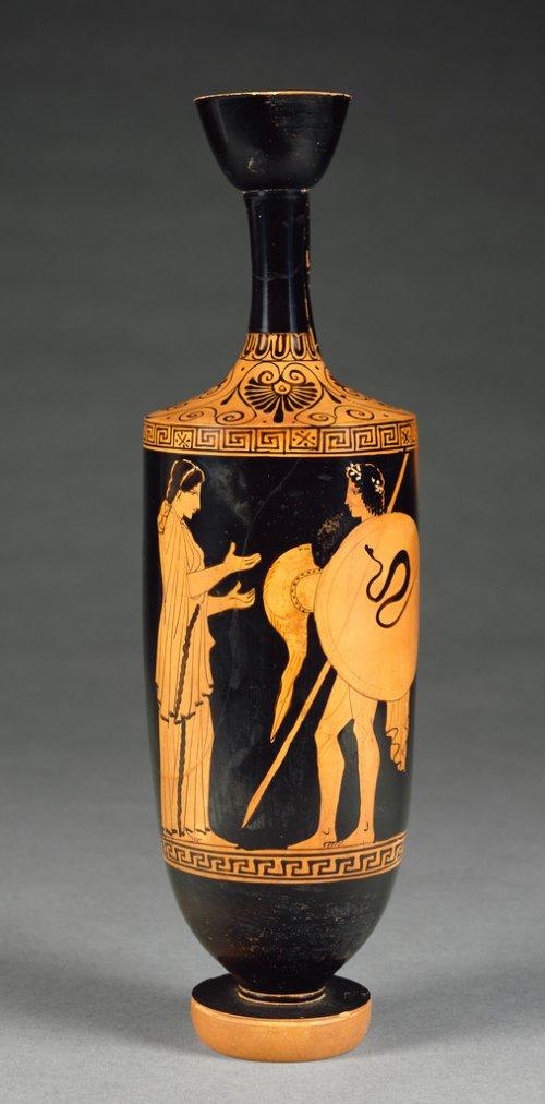 Lécito (lekythos) de cerca de 450 a.C. 35 cm de altura. Museu Getty. N° 71.AE.442