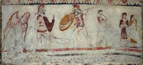 Pintura em túmulo de Paestum.