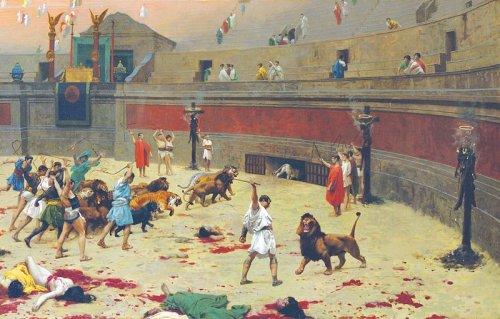 Pintura de Jean-Léon Gérôme  (1824–1904) mostra a queima, crucificação e morte de condenados no Coliseu. Via Wikimedia Commons.