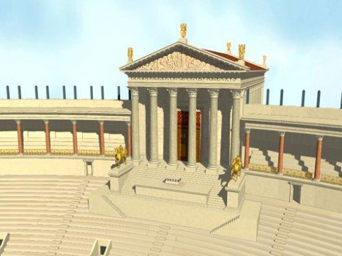 Templo dedicado a Vênus Victrix dentro do Teatro de Pompeu. Reconstrução digital, autor desconhecido.