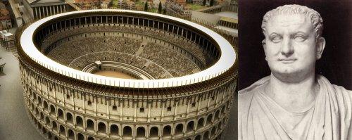 O Coliseu, ou Anfiteatro Flaviano, foi construído pelo imperador Tito Vespasiano. Essa imagem mostra a sua aparência original quando foi inaugurado.