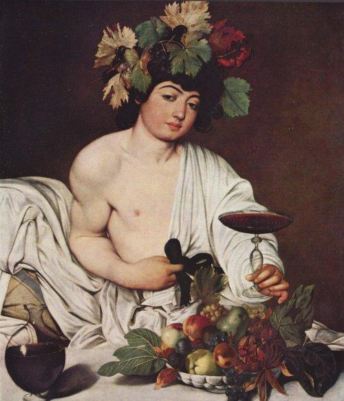 O deus Baco (o Dionísio grego) em pintura do renascentista Caravaggio (1571-1610).