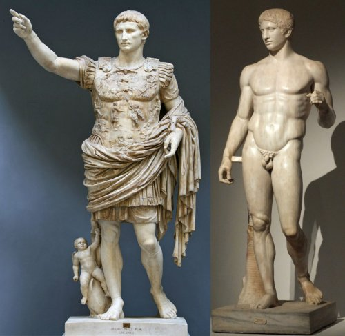 Segundo a autora Susan Woodford, em sua obra sobre a arte Greco-Romana, a famosa estátua do imperador Augusto foi baseada na estátua Doriforo de Policleto. Algumas mudanças foram feitas pelo novo escultor como adicionar roupas, diminuir a idealização do personagem e adicionar foco no olhar e pose de liderança ao líder romano.