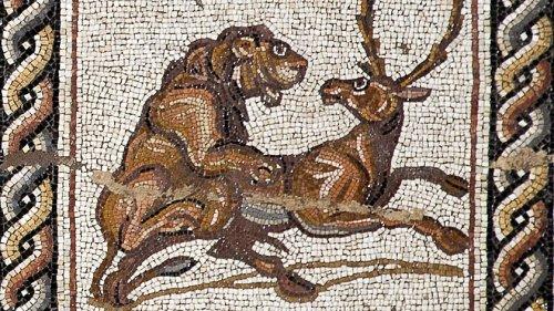 Um leão caçando um veado no Mosaico Lod.
