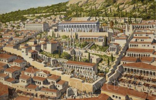 Recriação moderna da aparência de Delfos na antiguidade clássica. Ilustração do site Archaeology Illustrated.