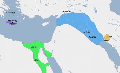 O Império Acadiano e outros reinos em meados do século 23 a.C. Site Geacron.