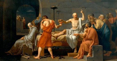A Morte de Sócrates, pintura de Jacques-Louis David (1787). MET.
