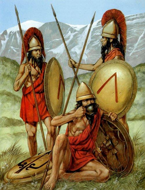 Membros do exército de Esparta no século 5 a.C. Ilustração de Richard Hook.