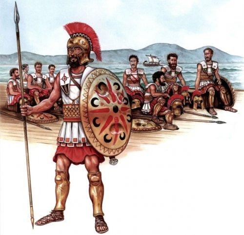 Hoplita em trirreme grego. Ilustração moderna de Peter Bull.