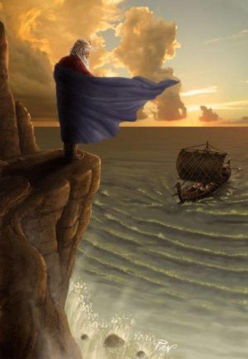 Rei Egeu contempla a chegada do barco de Teseu, e suas velas negras, momentos antes de se suicidar. Ilustração moderna, autor Panaiotis.