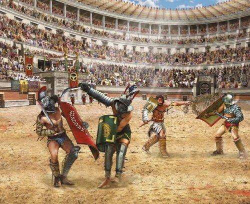 Gladiadores lutando no Coliseu. Ilustração moderna, autor desconhecido.