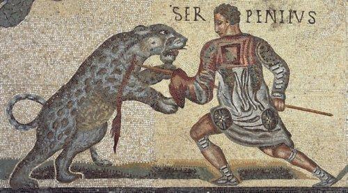 Mosaico dos Gladiadores. Século 4 d.C. Galeria Borghese.