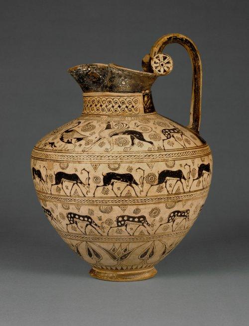 Enócoa do período Arcaico. Cerca de 625 a.C. 35 cm de altura. Museu Getty. N° 81.AE.83