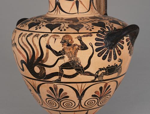 Héracles matando a Hidra em um de seus 12 desafios. Cerca de 520 a.C. Museu Getty. N° 83.AE.346