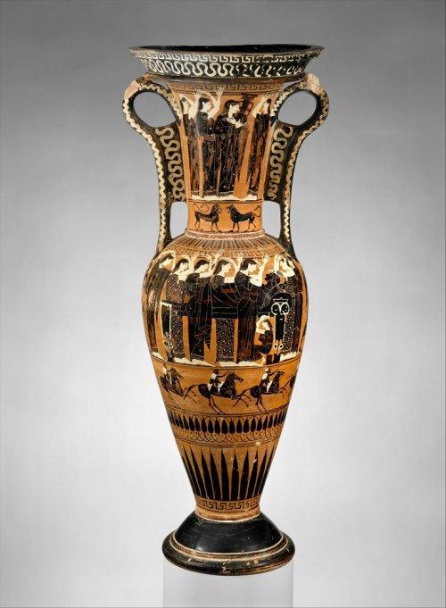 Lutróforo (loutrophoros) do século 6 a.C. 70 cm de altura. MET. N° 27.228