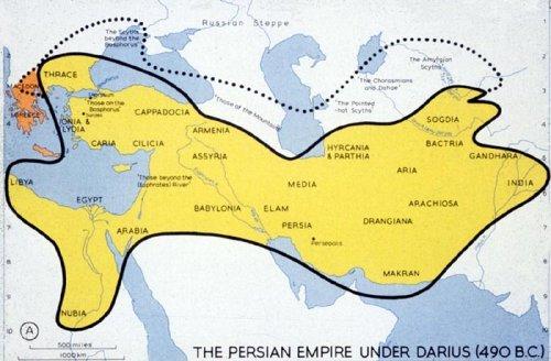 O Império Persa em 490 a.C. Observe a posição e o tamanho das cidades gregas no canto esquerdo do mapa.