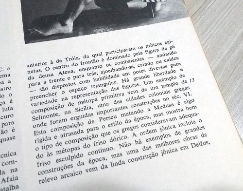 No parágrafo acima o autor fala do Templo de Selinonte, na Sicília, e o número 13 ao lado indica que alguma foto desse templo está no livro.